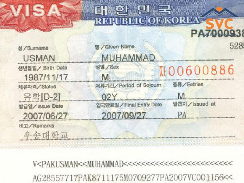 Loại visa du học Hàn Quốc D2