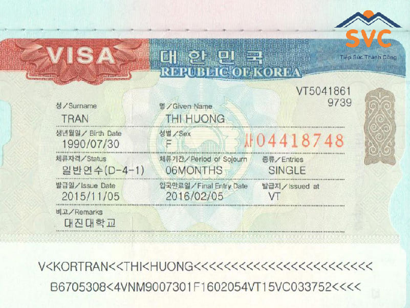 Loại visa du học Hàn Quốc D4