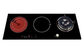 Bếp gas kết hợp bếp điện từ màu đen sang trọng