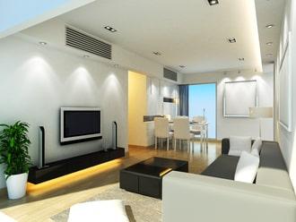 Lắp điều hòa phòng khách chung cư Mitsubishi ống gió